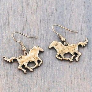 Goldtone Horse Earrings